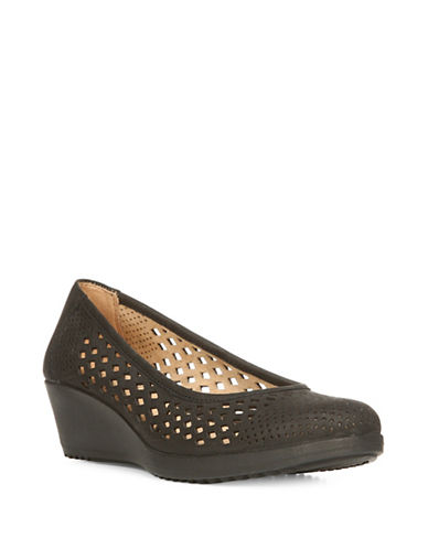 Naturalizer Brelynn Perforated Nubuck Leather Wedge Pumps-BLACK-8.5