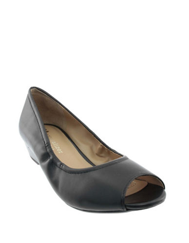 Naturalizer Leather Open-Toe Wedge Shoes-BLACK-7