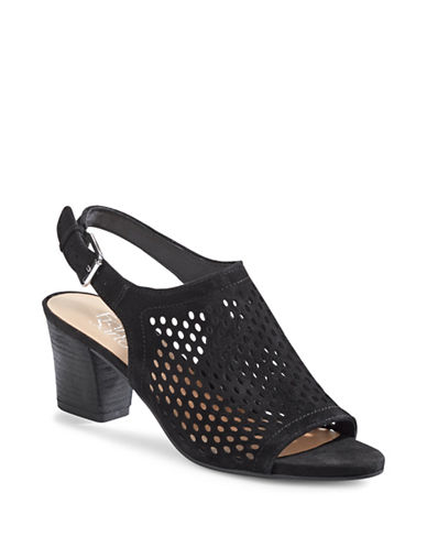 Franco Sarto Monaco2 Perforated Suede Sandals-BLACK-8.5