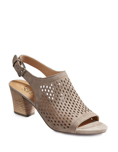 Franco Sarto Monaco2 Perforated Suede Sandals-DARK SAND-7.5