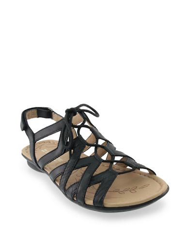 Naturalizer Whimsy Lace Front Sandals-BLACK-7