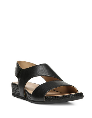 Naturalizer Yessica Leather Flat Sandals-BLACK-8
