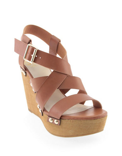 Fergalicious Libby Studded Wedge Sandals-TAN-9.5