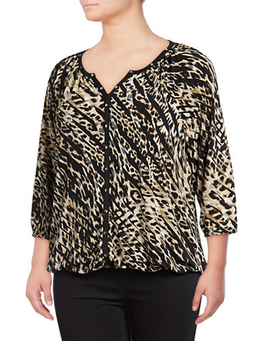 Rafaella Plus Striped Animal-Print Quarter-Sleeve Top-BEIGE-1X