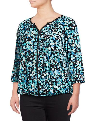 Rafaella Plus Bejeweled Dots Quarter-Sleeve Top-BLACK-2X