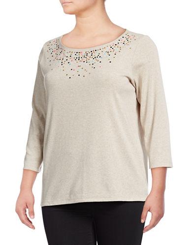 Rafaella Plus Quarter-Sleeve Embellished Cotton Top-BEIGE-3X
