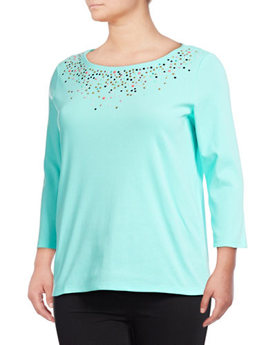 Rafaella Plus Quarter-Sleeve Embellished Cotton Top-AQUA-3X