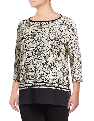 Rafaella Plus Giant Flowers Quarter-Sleeve Cotton Top-BEIGE-2X
