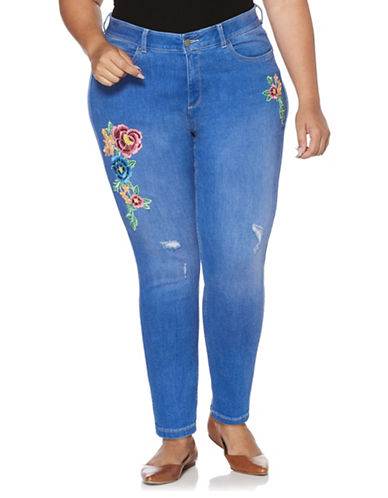 Rafaella Plus Distressed and Floral Embroidered Skinny Jeans-BLUE-20W
