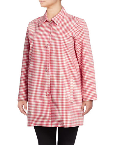 Rafaella Plus The Weekend Gingham Button-Down Topper-PINK-3X