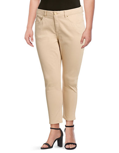 Rafaella Plus Coloured Skinny Jeans-BEIGE-20W