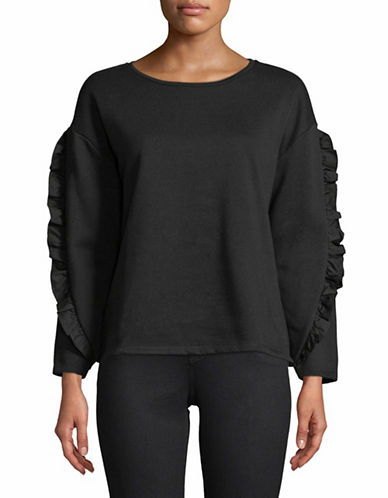 Lord & Taylor Plus Ruffle Sleeve Sweatshirt-BLACK-3X