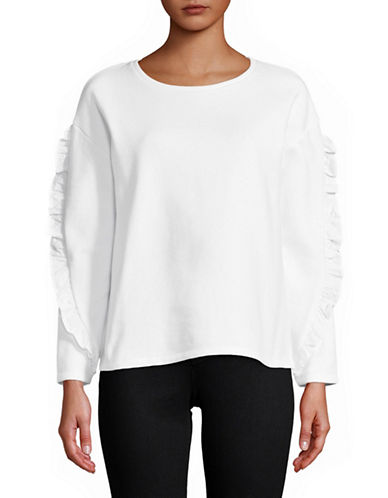 Lord & Taylor Ruffle-Sleeve Sweatshirt-WHITE-Medium