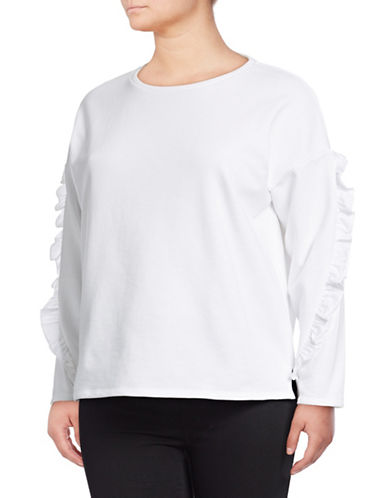 Lord & Taylor Plus Ruffle Sleeve Sweatshirt-WHITE-3X