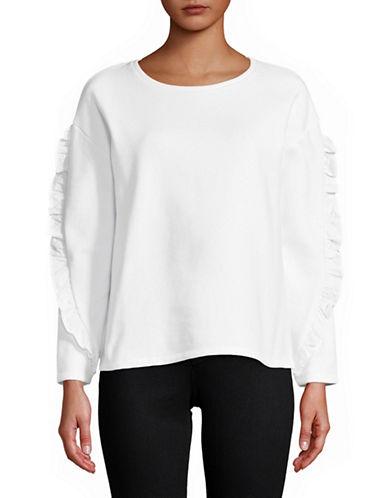 Lord & Taylor Petite Ruffle Sleeve Sweatshirt-WHITE-Petite Large
