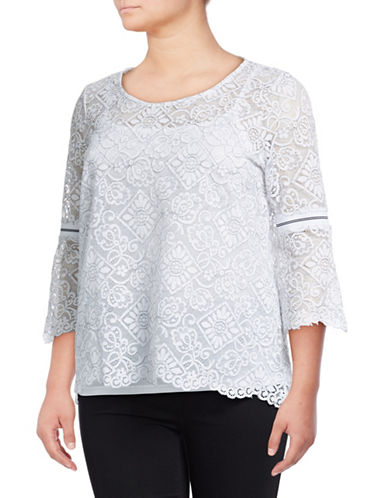 Rafaella Plus Plus Corded Lace Top-WHITE-1X