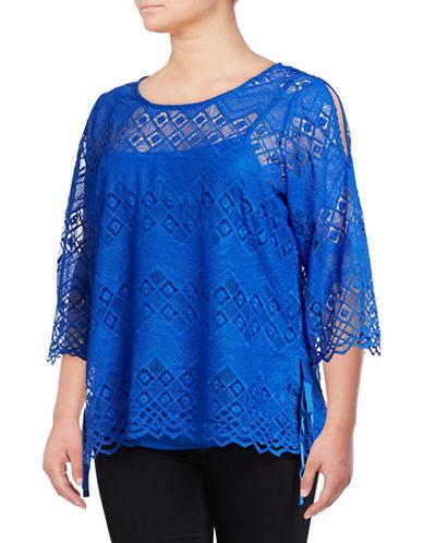 Rafaella Plus Plus Cold Shoulder Lace Top-BLUE-2X