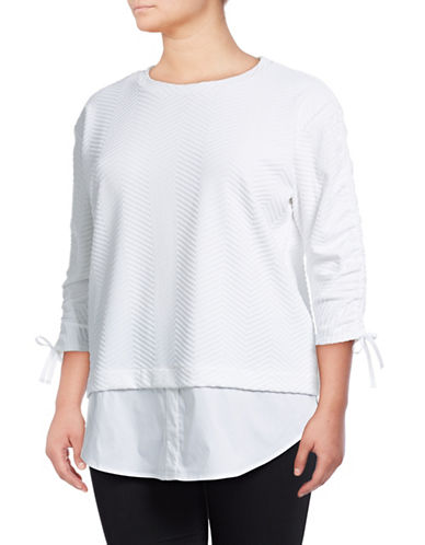 Rafaella Plus Plus Jacquard Knit Top-WHITE-1X