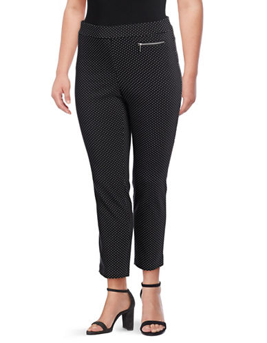 Rafaella Plus Plus Dotted Ankle Length Pants-BLACK-16W