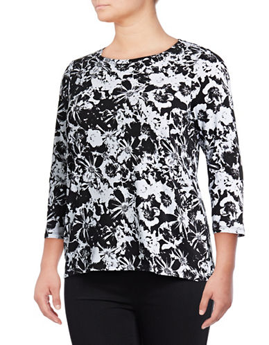 Rafaella Plus Plus Floral-Print Top-BLACK-2X