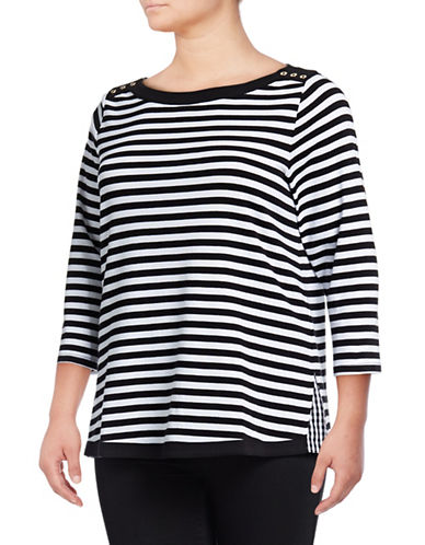 Rafaella Plus Plus Stripe Getaway Cotton Tee-BLACK-3X