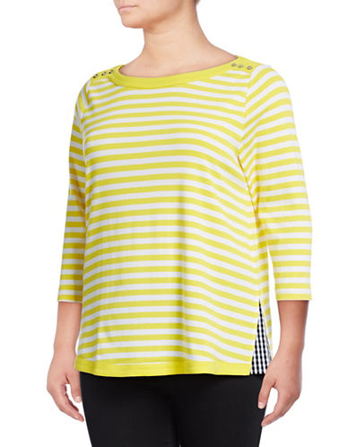 Rafaella Plus Plus Stripe Getaway Cotton Tee-YELLOW-1X