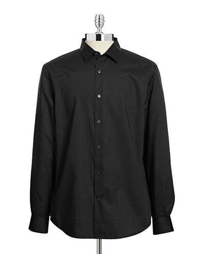 Perry Ellis Non-Iron Dress Shirt-BLACK-Small