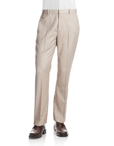 Perry Ellis Textured Herringbone Twill Pants-BEIGE-36X32