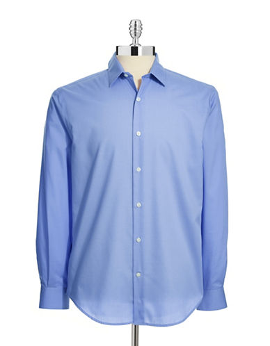 Perry Ellis Non-Iron Dress Shirt-BLUE-Large
