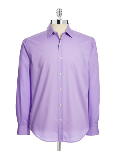 Perry Ellis Non-Iron Dress Shirt-PURPLE-Large