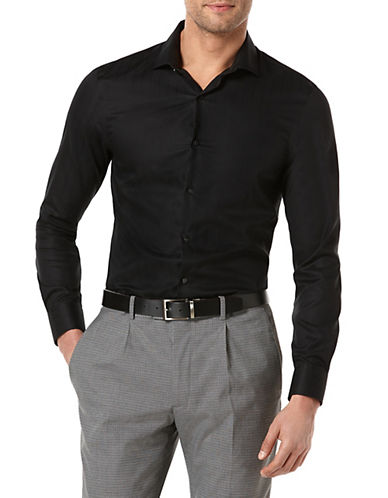 Perry Ellis Slim Fit Tonal Striped Shirt-BLACK-XX-Large