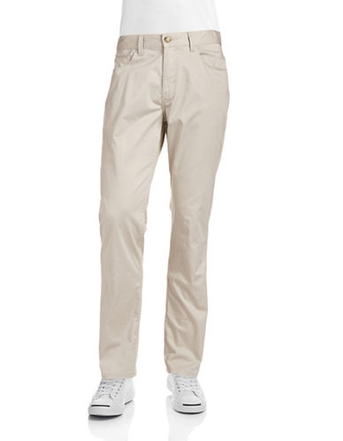 Perry Ellis Slim Fit Stretch Cotton Pants-STONE-34X30
