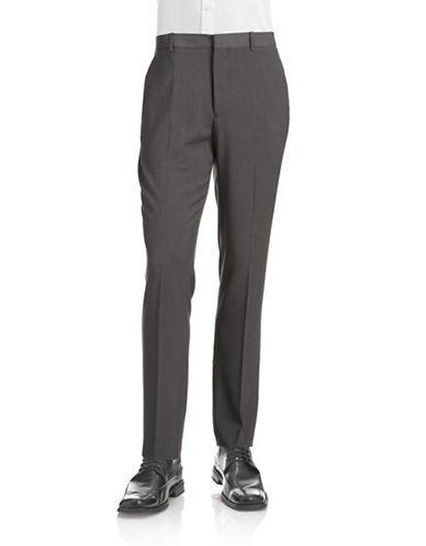 Perry Ellis Travel Luxe Slim Stretch Trousers-CHARCOAL-33X30