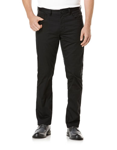 Perry Ellis Slim Fit Stretch Cotton Pants-BLACK-36X30