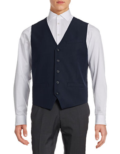 Perry Ellis Travel Luxe Wrinkle-Resistant Vest-NAVY-Small