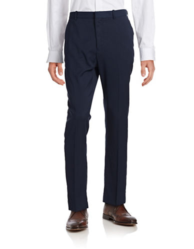 Perry Ellis Travel Luxe Slim Stretch Trousers-NAVY-36X30
