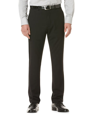 Perry Ellis Portfolio Slim-Fit Solid Herringbone Pant-BLACK ICE-36X30