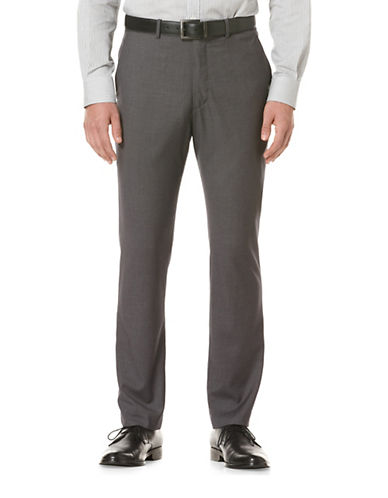 Perry Ellis Portfolio Slim-Fit Solid Herringbone Pant-GREY-34X30