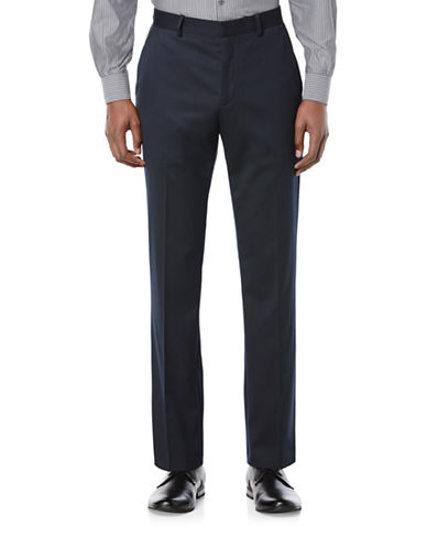 Perry Ellis Porftfolio Slim-Fit Solid Textured Pants-NAVY-33X32