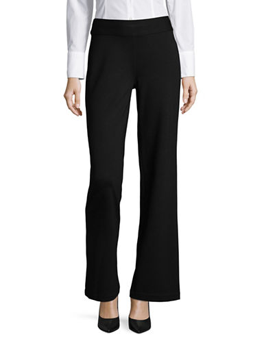 Lord & Taylor Ponte Wide Leg Pull On Pants-BLACK-Medium