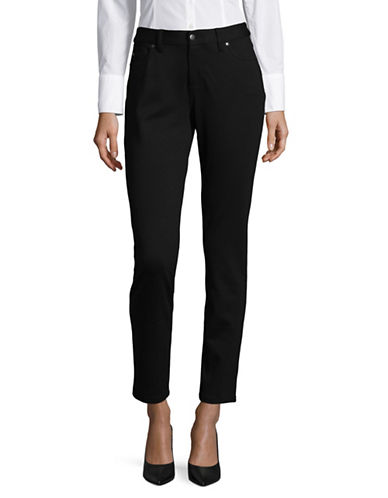 Lord & Taylor Petite Five-Pocket Ponte Pants-BLACK-Petite Medium