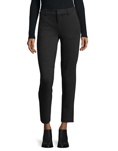 Lord & Taylor Solid Ponte Ankle Trousers-CHARCOAL-X-Large