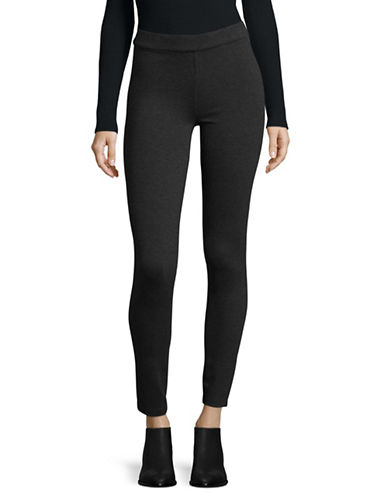 Lord & Taylor Mid-Rise Pointe Leggings-CHARCOAL-X-Small