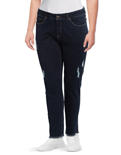 Rafaella Plus Weekend Slimming Fit High-Rise Jeans-DARK BLUE-18W