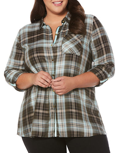 Rafaella Plus Plaid Blouse-MARINA-3X