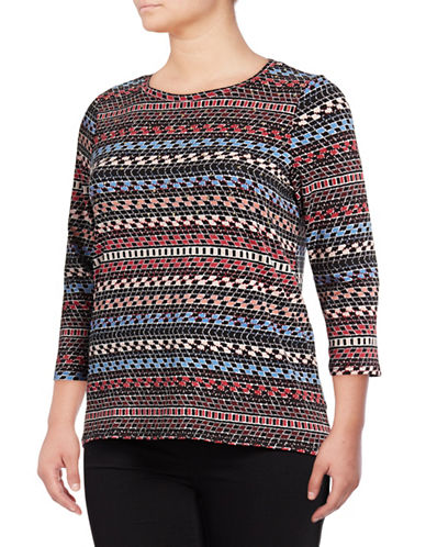 Rafaella Plus Dotty Geo Stripe Top-MULTI-2X