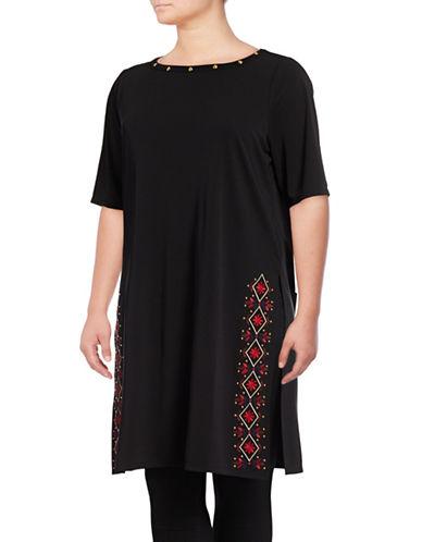 Rafaella Plus Studded Embroidered Tunic-BLACK-2X