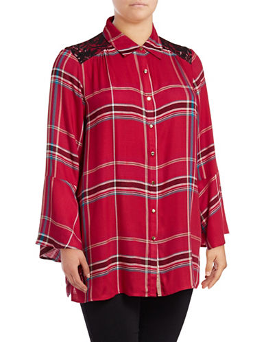 Rafaella Plus Jewel Tone Woven Button-Down Shirt-RED-3X