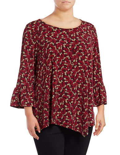Rafaella Plus Festive Leaves Blouse-RED-1X