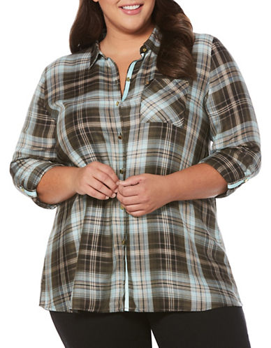 Rafaella Plus Plaid Blouse-PINE-1X